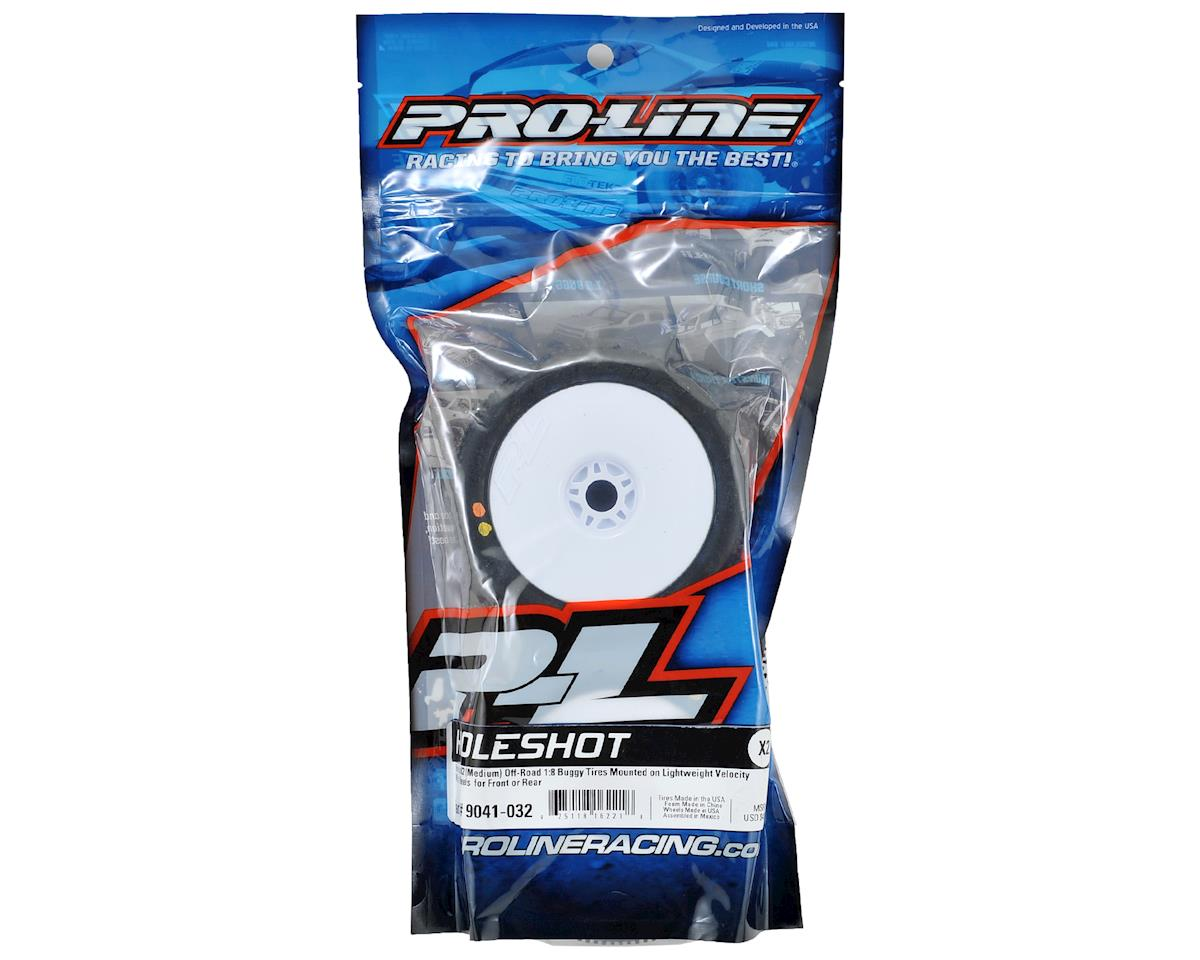 Pro-Line Hole Shot 2.0 Pre-Mounted 1/8 Buggy Tires (Velocity) (2) (White) (X2)