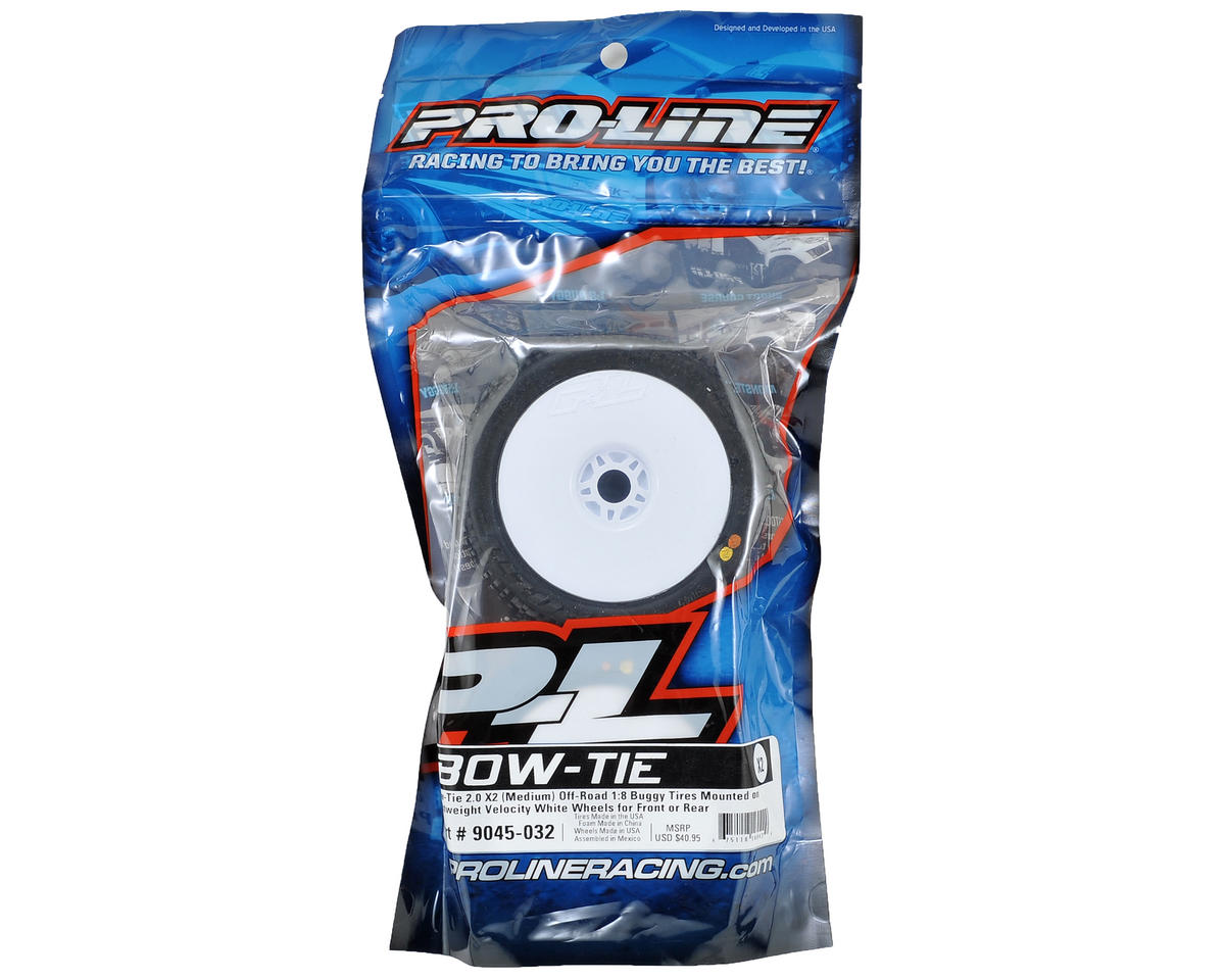 Pro-Line Bow-Tie 2.0 Pre-Mounted 1/8 Buggy Tires (2) (White) (X2)