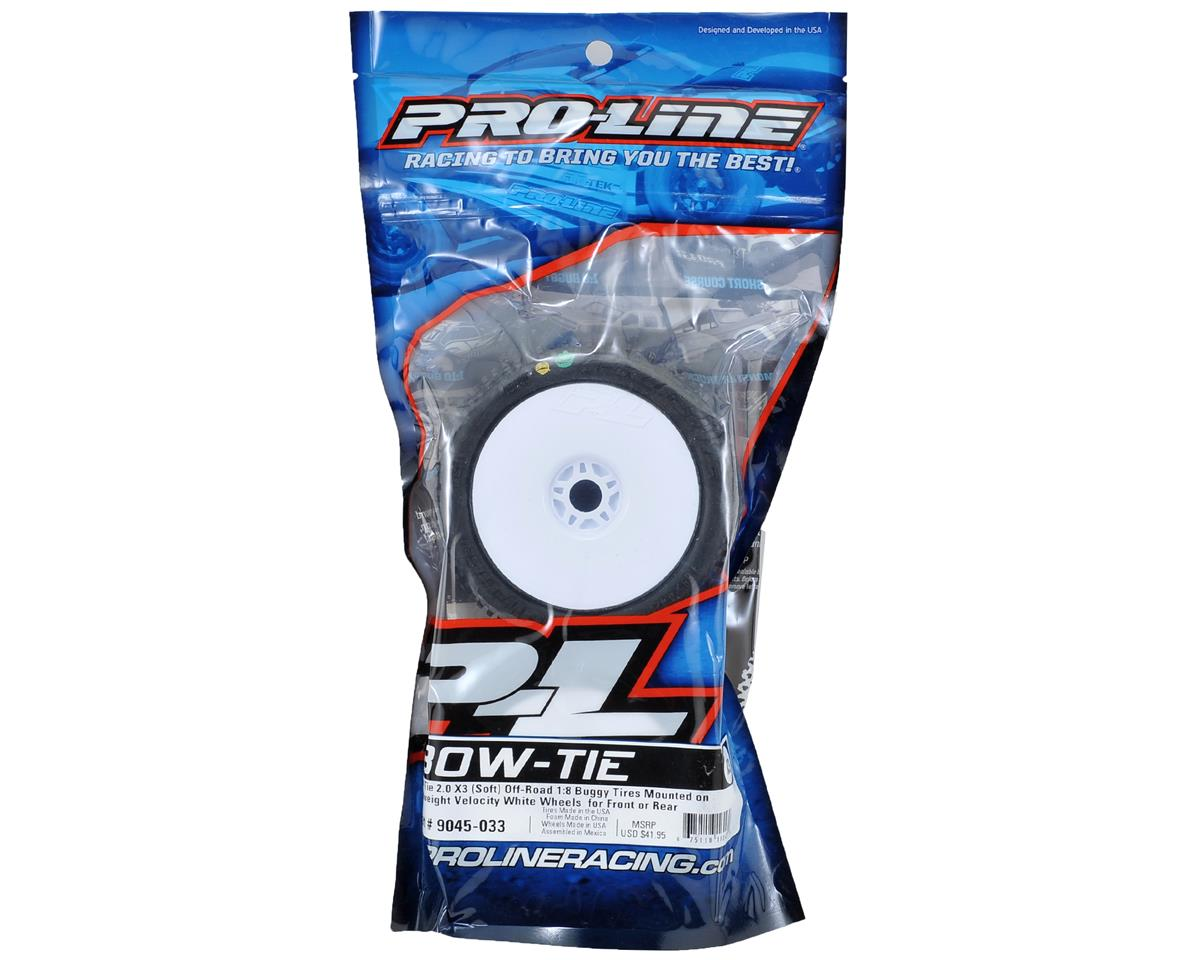 Pro-Line Bow-Tie 2.0 Pre-Mounted 1/8 Buggy Tires (2) (White) (X3)