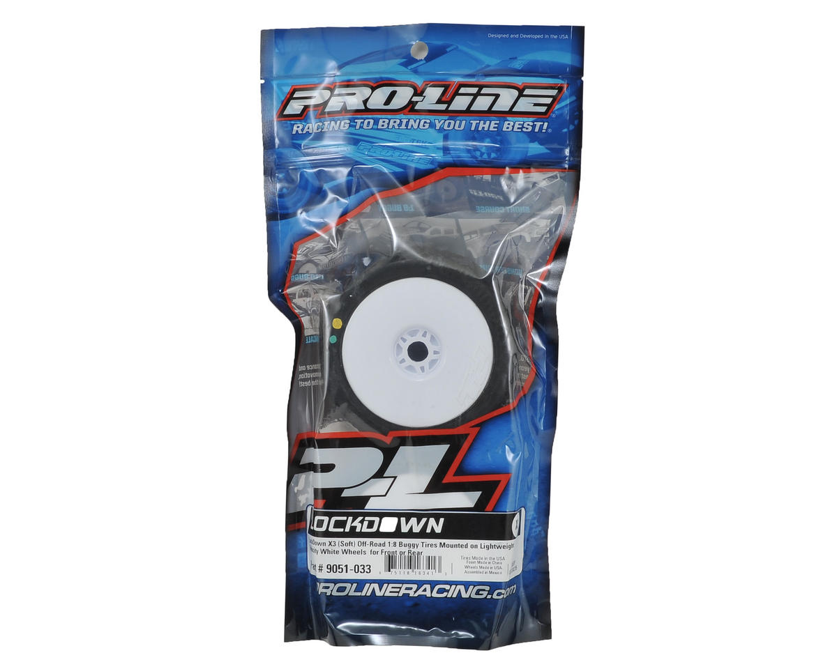 Pro-Line LockDown Pre-Mounted 1/8 Buggy Tires (Velocity) (2) (White) (X3)