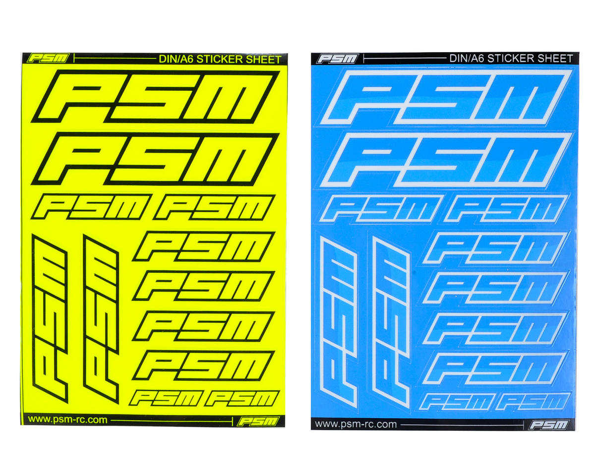 PSM A6 Sticker Sheet (Fluorescent Yellow & Blue)