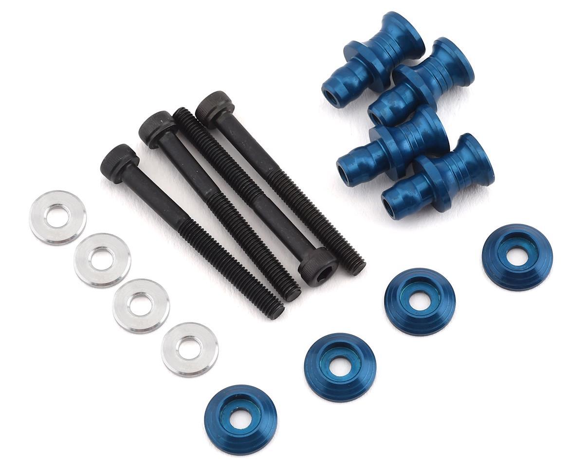 PSM RC8 B3.1 Aluminum Shock Standoff Set (Electric Blue) (4)