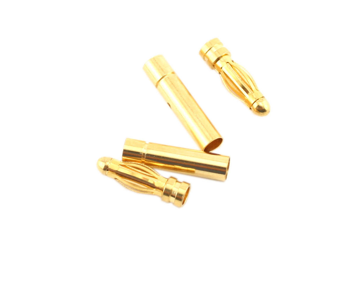 3.0mm Gold Plated Inline Connectors (2 Male/2 Female) by ProTek RC