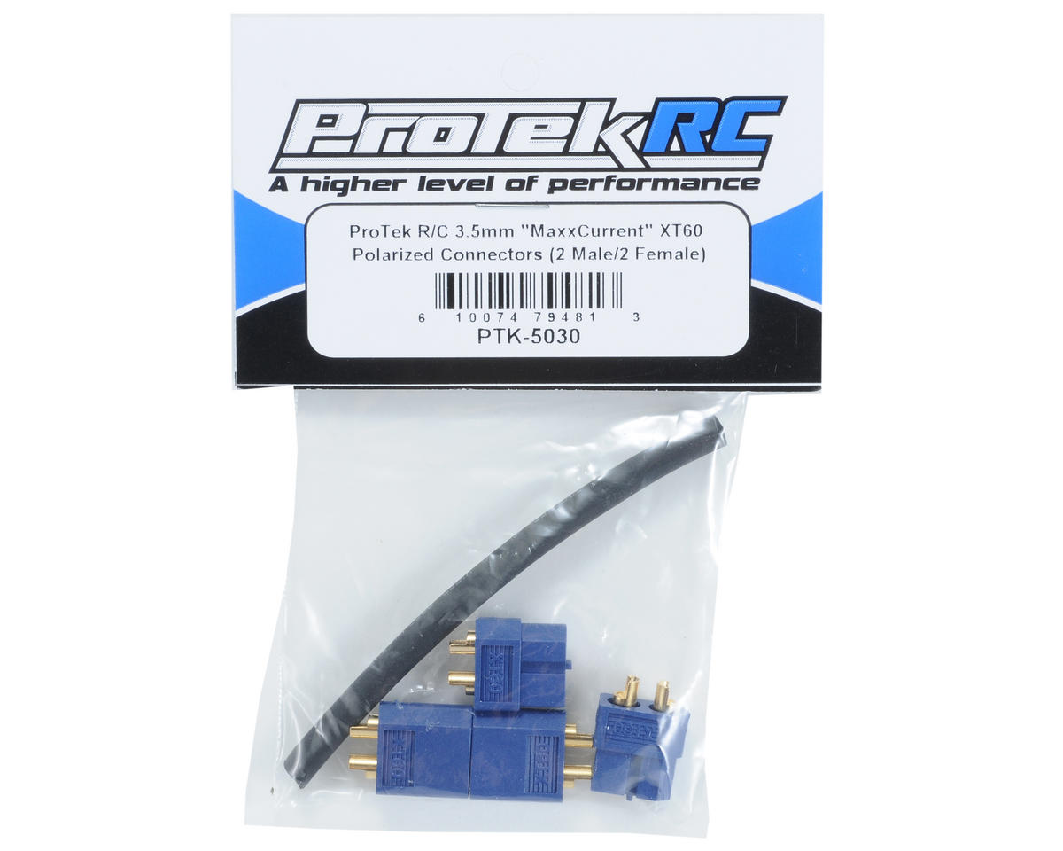 "ProTek RC 3.5mm ""TruCurrent"" XT60 Polarized Connectors (2 Male/2 Female)"