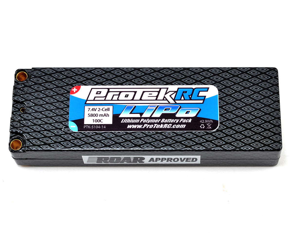 "ProTek RC 2S ""Supreme Power"" Li-Poly 100C Hard Case Battery Pack w/5mm Bullets (7.4V/5800mAh)"