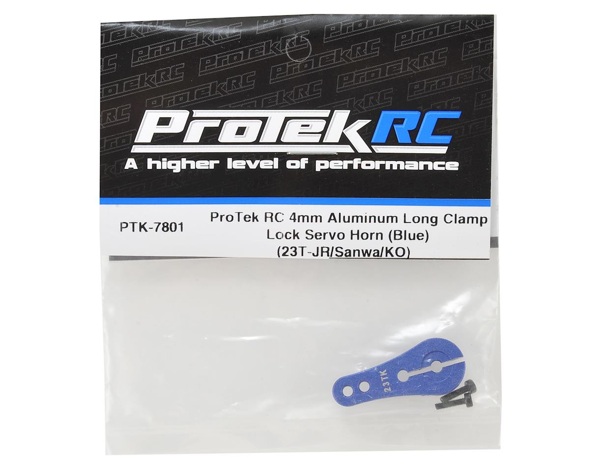 ProTek RC 4mm Aluminum Long Clamp Lock Servo Horn (Blue) (23T-JR/Sanwa/KO)