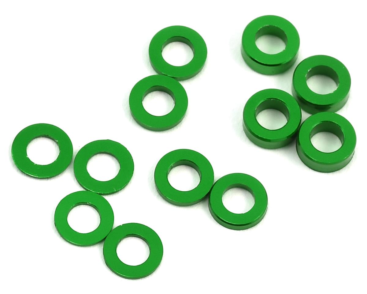 Aluminum Ball Stud Washer Set (Green) (12) (0.5mm, 1.0mm & 2.0mm) by ProTek RC