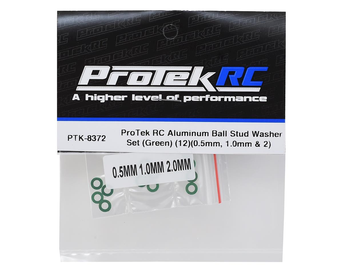 ProTek RC Aluminum Ball Stud Washer Set (Green) (12) (0.5mm, 1.0mm & 2.0mm)
