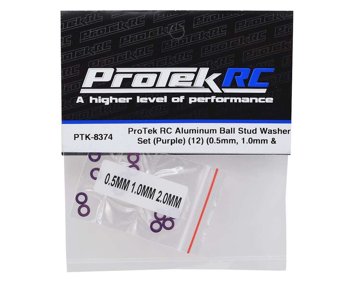 ProTek RC Aluminum Ball Stud Washer Set (Purple) (12) (0.5mm, 1.0mm & 2.0mm)
