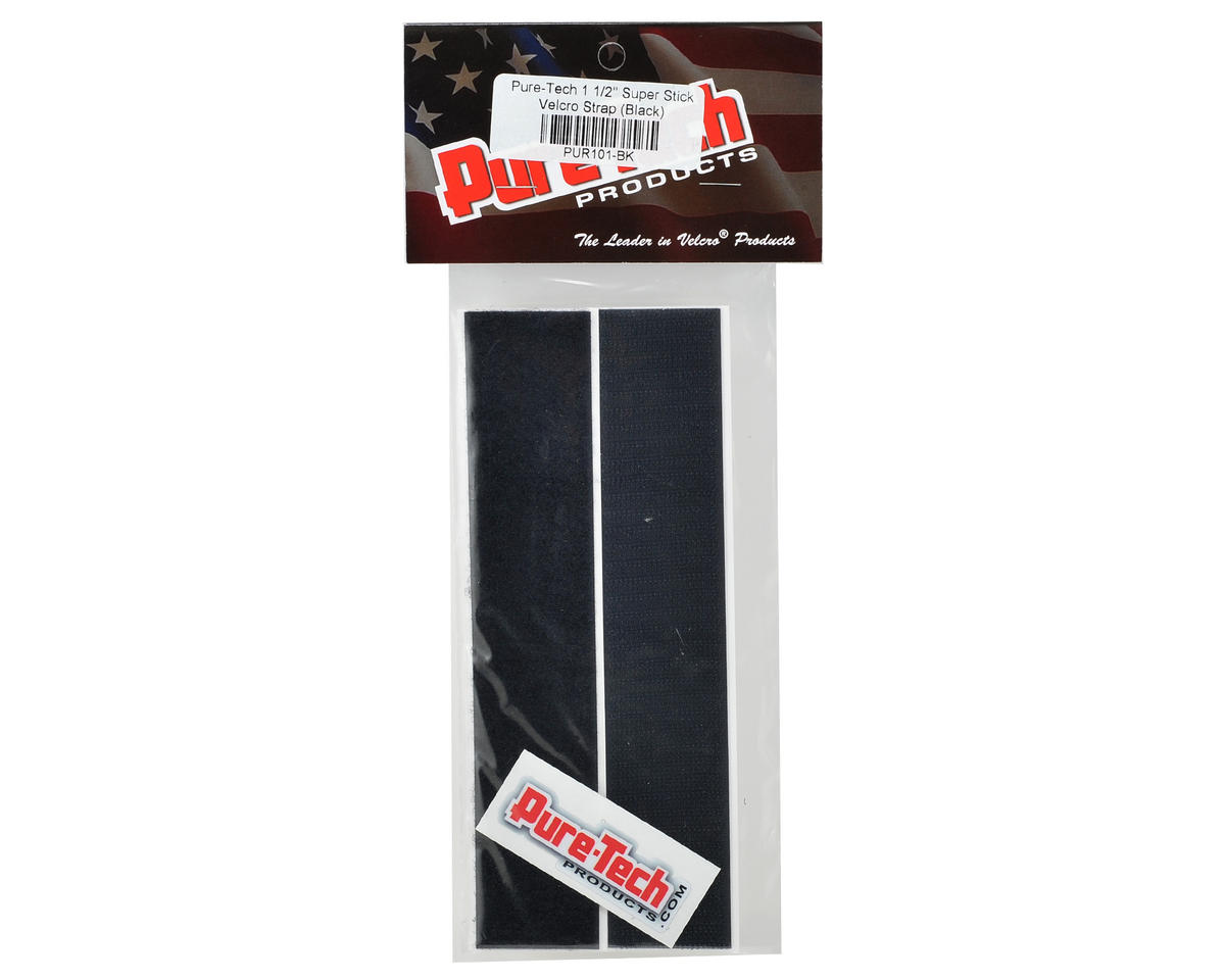 "Pure-Tech 1 1/2"" Super Stick Hook & Loop Strap Set (Black) (1 Hook/1 Loop)"
