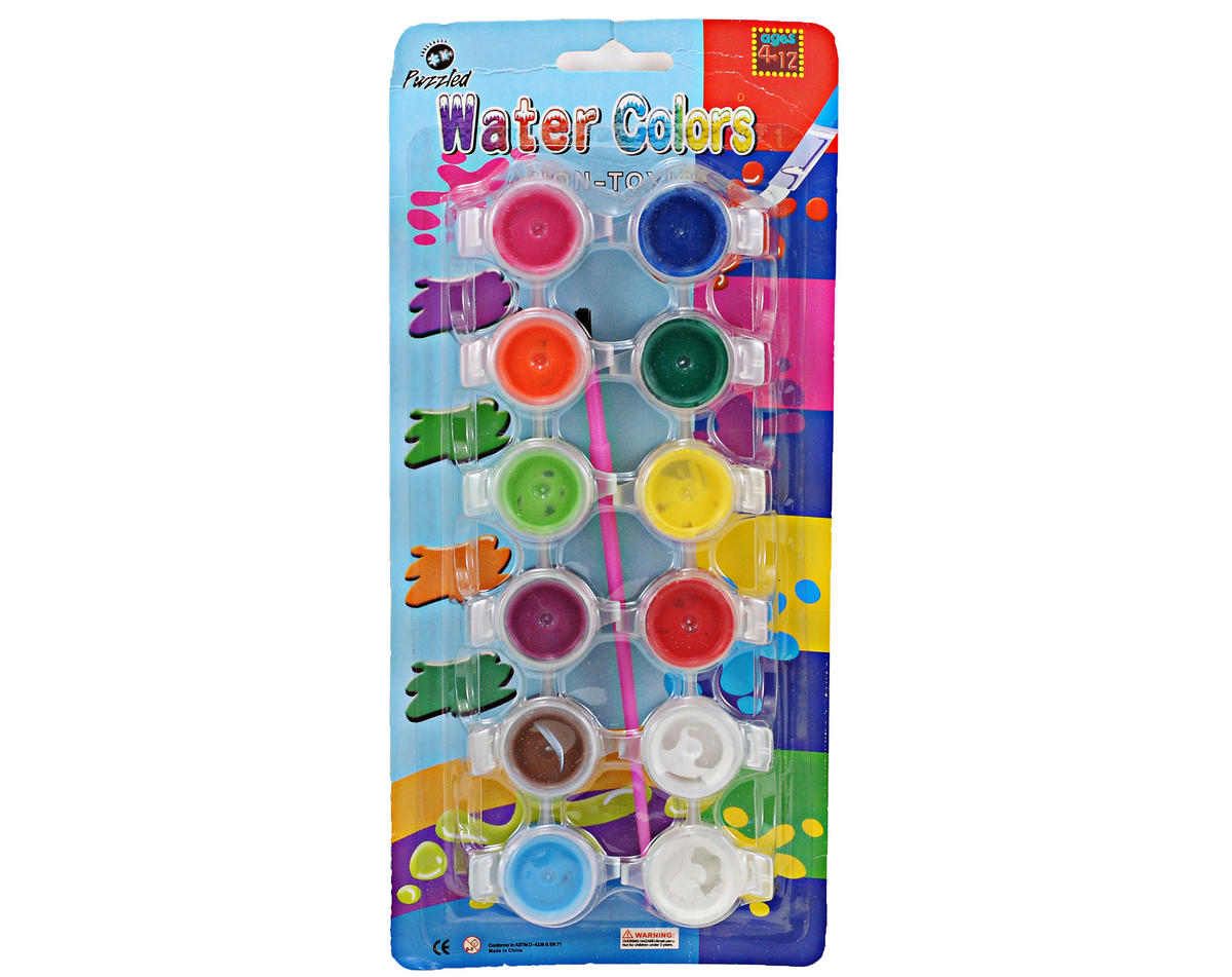 Puzzled 12 Color Paint Set w/Brush