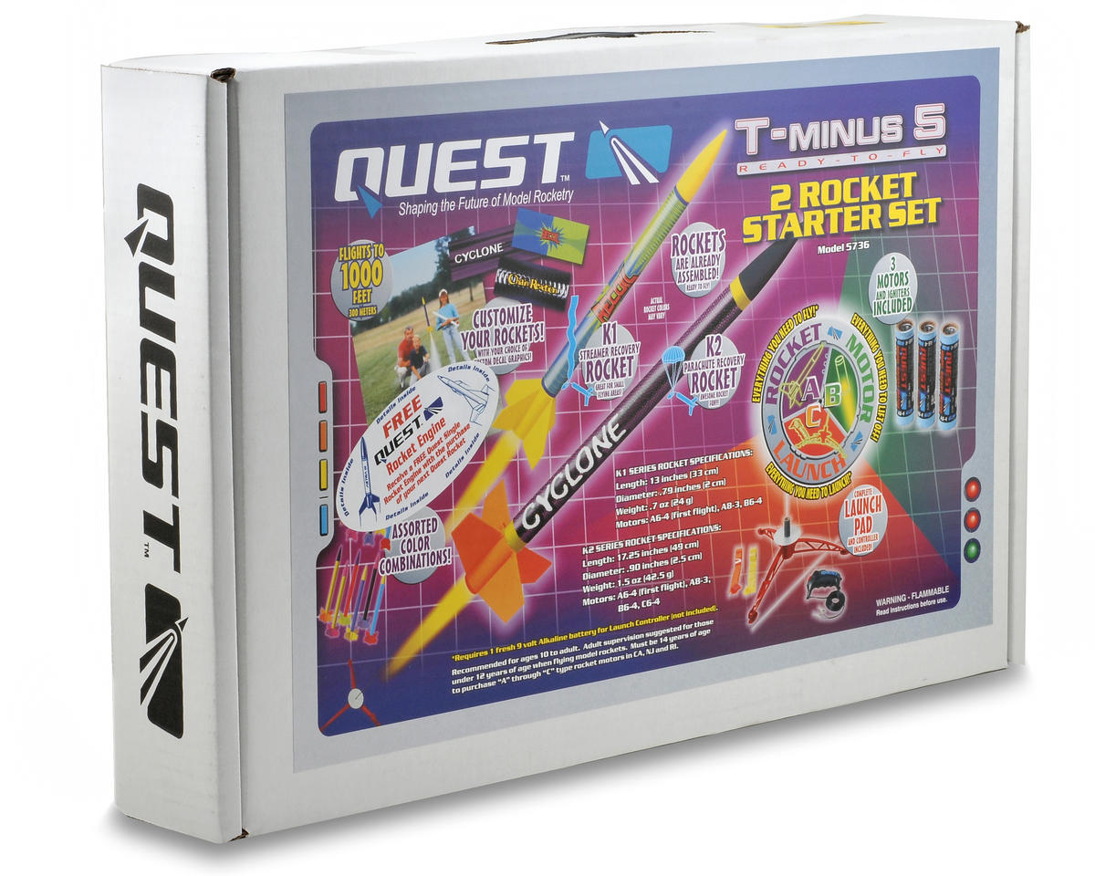 Quest Aerospace T-Minus 5 Two Rocket Ready-To-Fly Starter Set