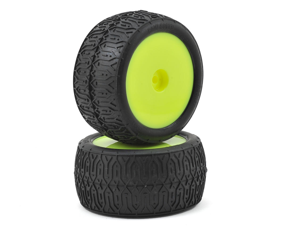 "Raw Speed RC Rocket 2.2"" 1/10 Rear Buggy Pre-Mounted Tires (2) (Yellow)"