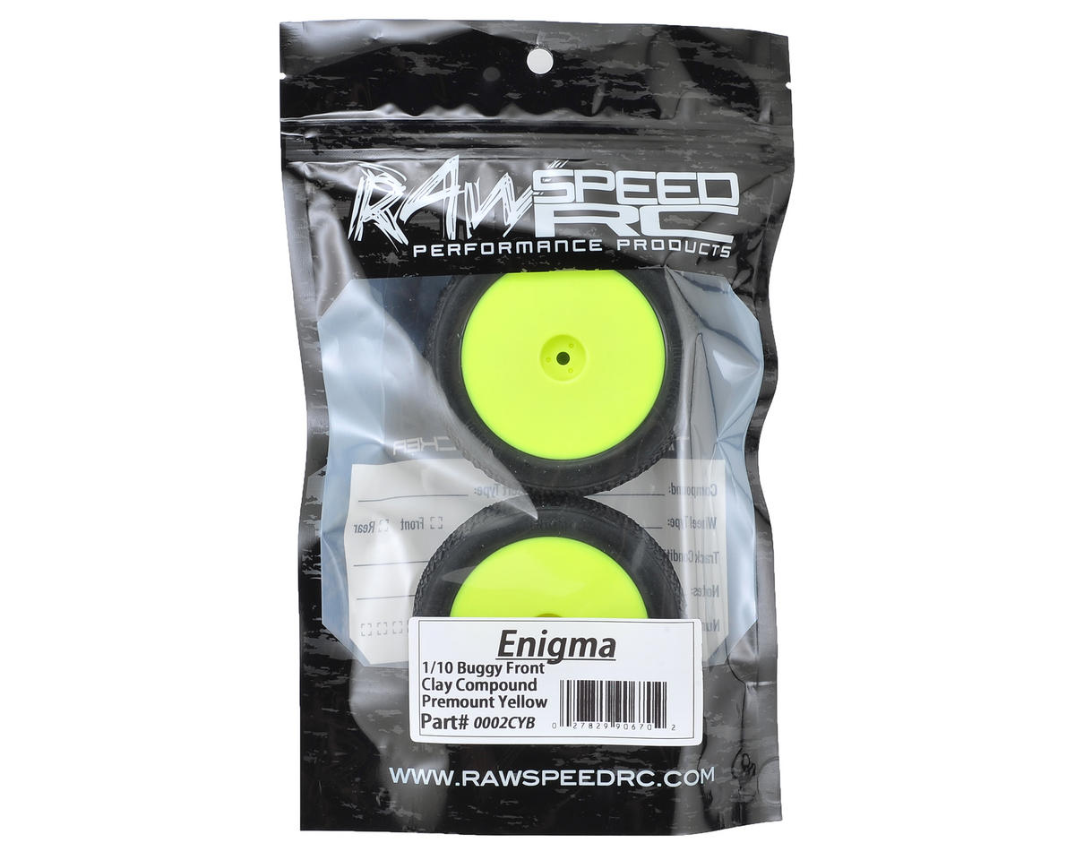 """Raw Speed RC Enigma 2.2"""" 1/10 2WD Front Pre-Mounted Tires (Yellow) (2)"""