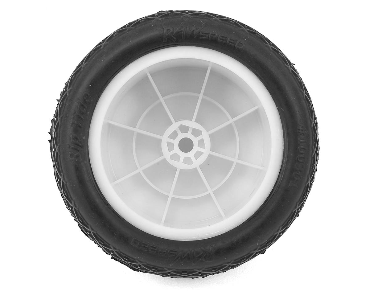 "Raw Speed RC Rip Tide 2.2"" 1/10 Rear Buggy Pre-Mounted Tire (2) (White) (Clay)"