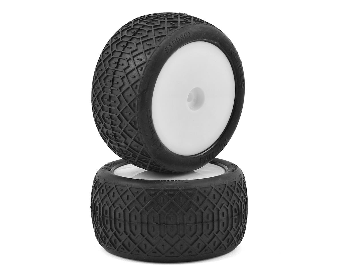 """Raw Speed RC """"Rip Tide"""" 2.2"""" 1/10 Rear Buggy Pre-Mounted Tire (2) (White) (Clay)"""