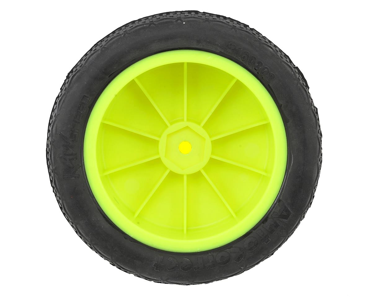 "Raw Speed RC Autocorrect 2.2"" 1/10 2WD Front Pre-Mounted Tire (Yellow) (2) (Clay)"