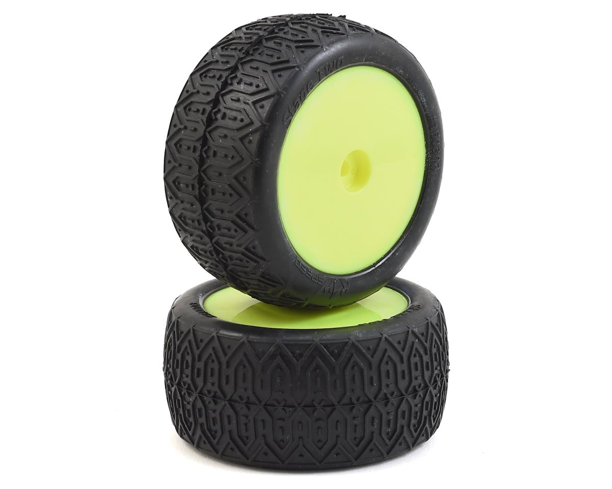 "Raw Speed RC Stage Two 2.2"" 1/10 2WD Rear Pre-Mounted Tire (Yellow) (2) (Losi 22 4.0)"