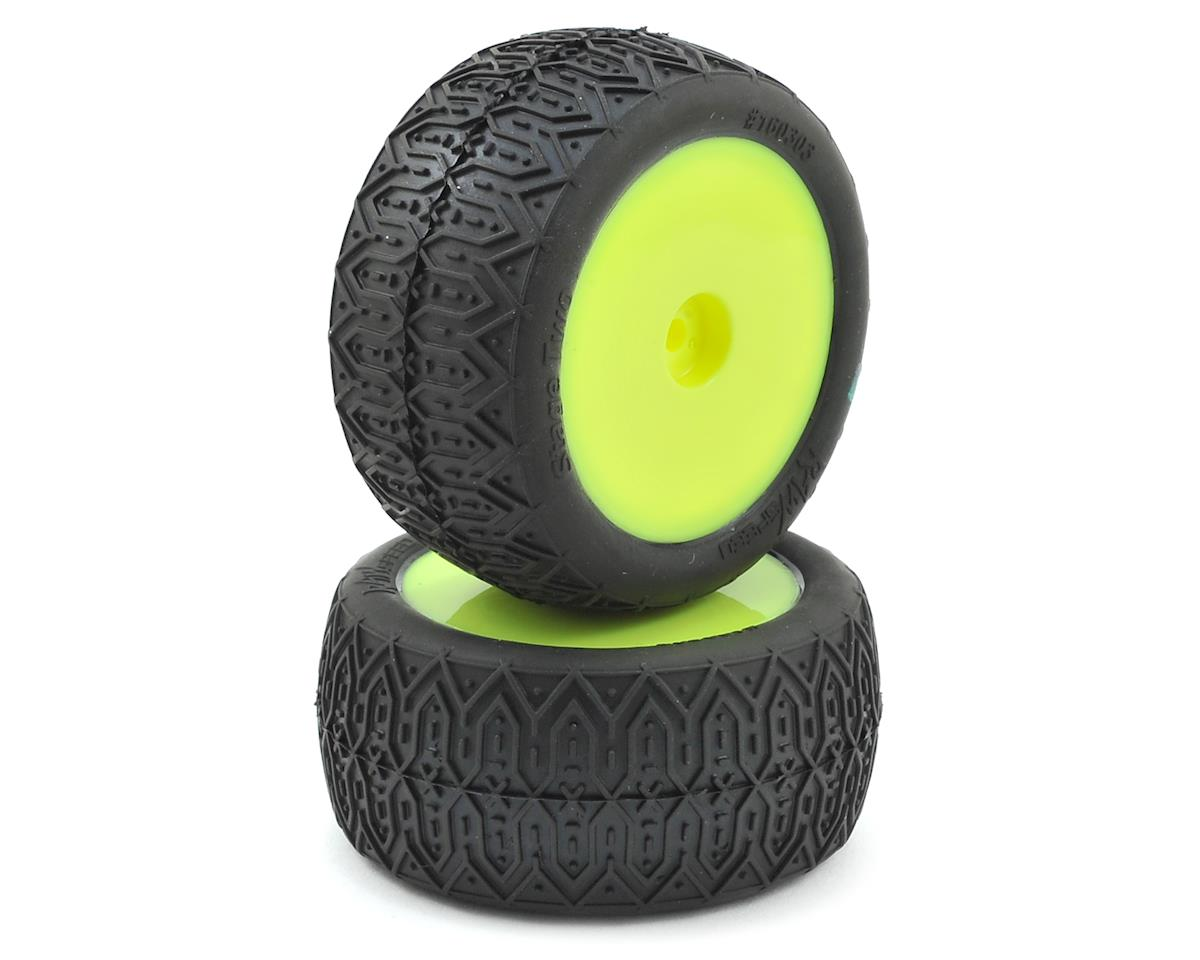 Raw Speed RC Stage Two Rear 1/10 Buggy Pre-Mounted Tires (2) (Yellow) (Super Soft)