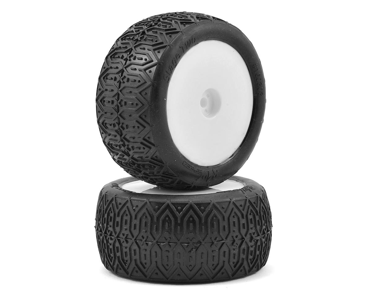 "Raw Speed RC Stage Two 2.2"" 1/10 Rear Buggy Premounted Tires (2) (White)"