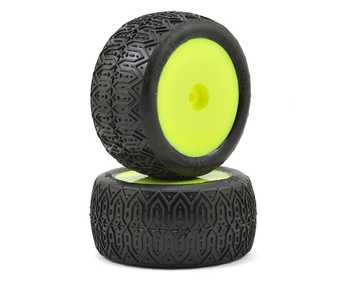 "Raw Speed RC Stage Two 2.2"" 1/10 Rear Buggy Premounted Tires (2) (Yellow)"