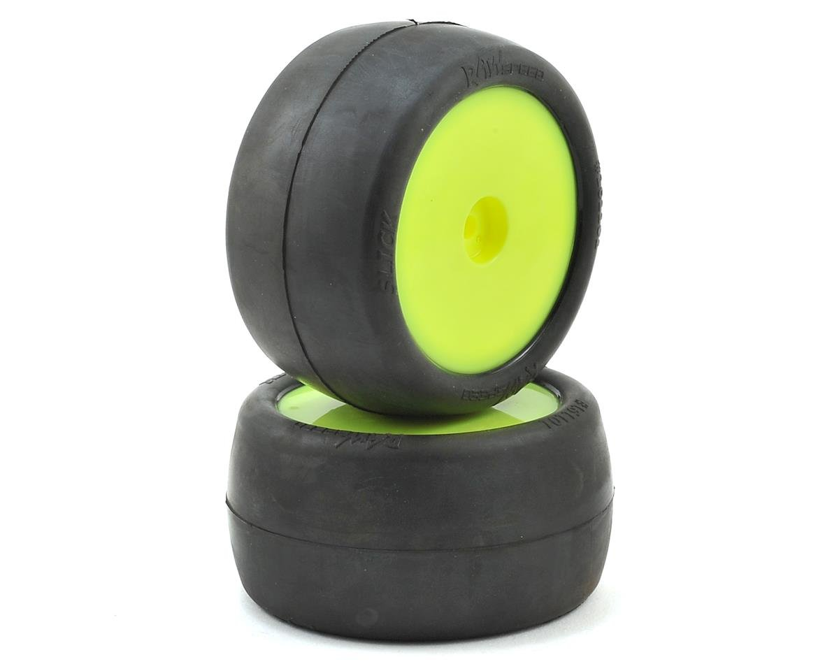 "Raw Speed RC ""Slick"" 2.2"" 1/10 Rear Buggy Pre-Mounted Tires (Yellow) (2) (Clay)"