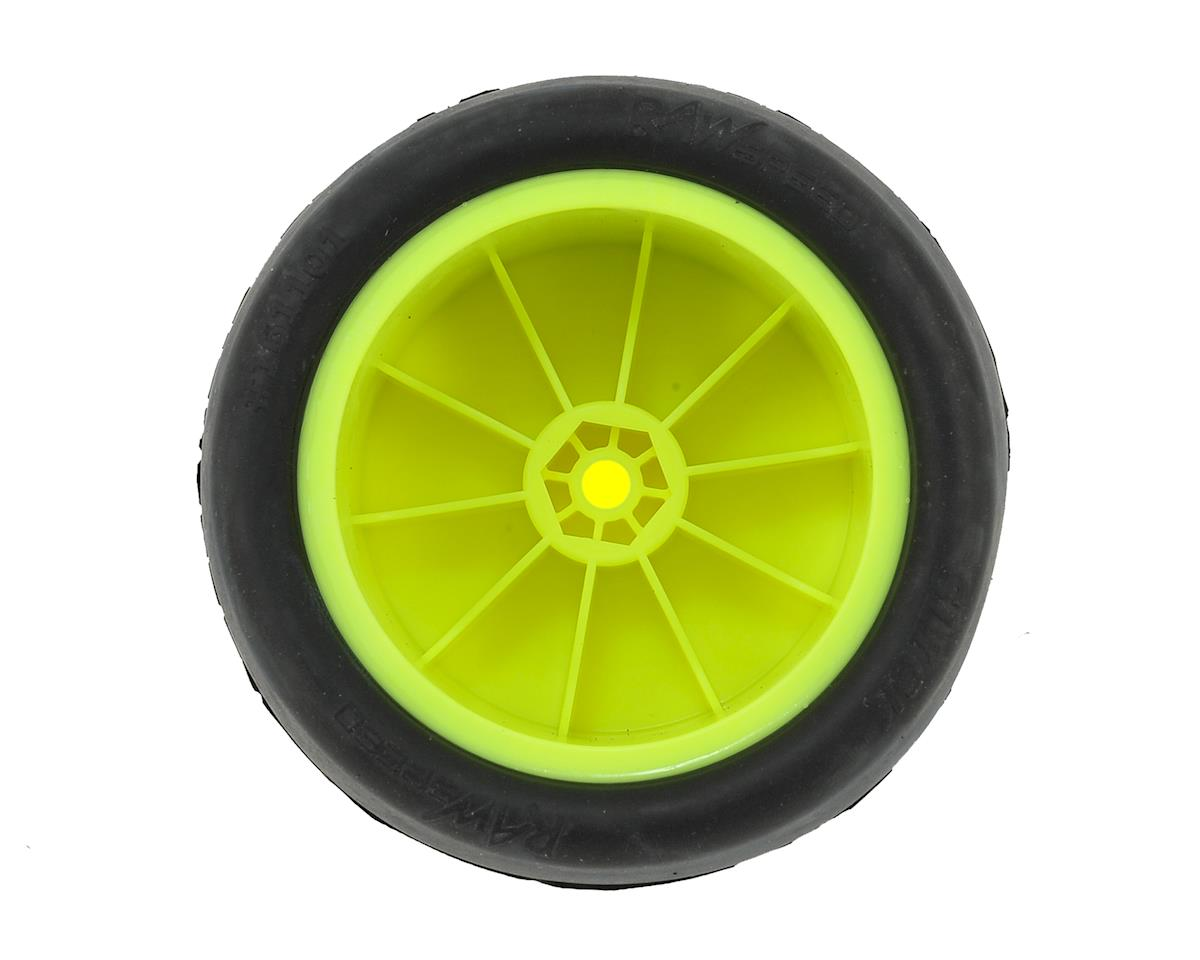 """Raw Speed RC """"Slick"""" 2.2"""" 1/10 Rear Buggy Pre-Mounted Tire (2) (Yellow) (Clay)"""