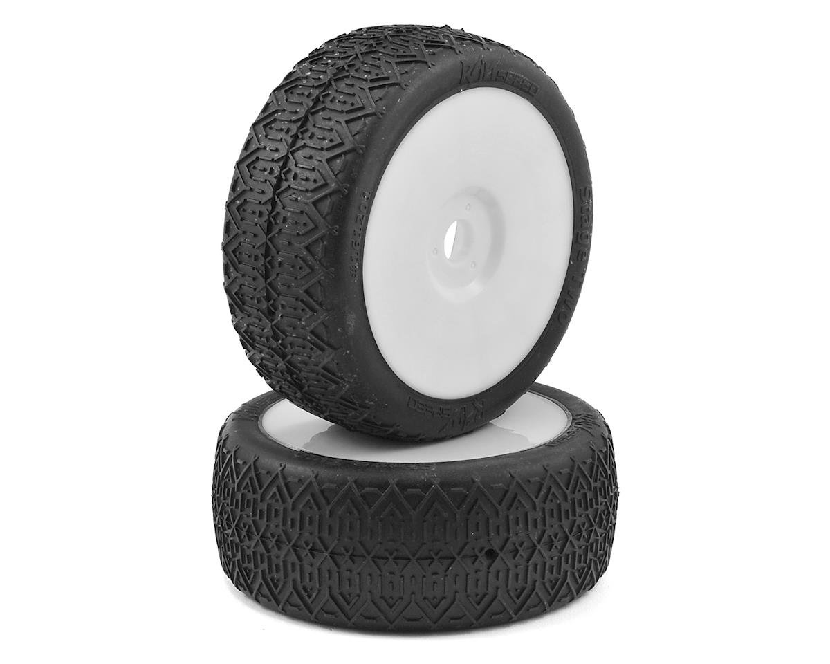 Stage Two 1/8 Buggy Pre-Mounted Tires (2) (White) (Clay) by Raw Speed RC
