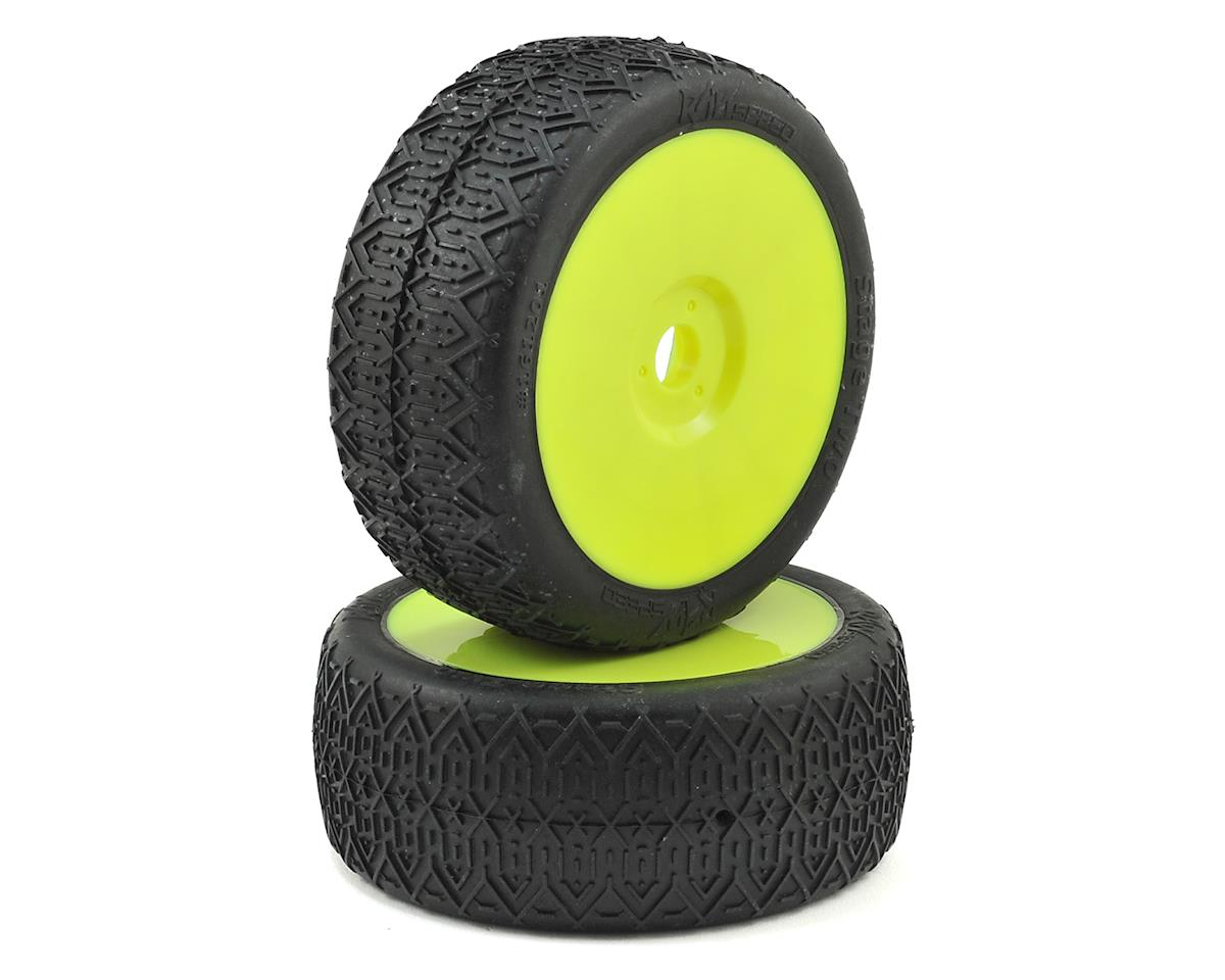 Raw Speed RC Stage Two 1/8 Buggy Pre-Mounted Tires (2) (Yellow) (Clay)