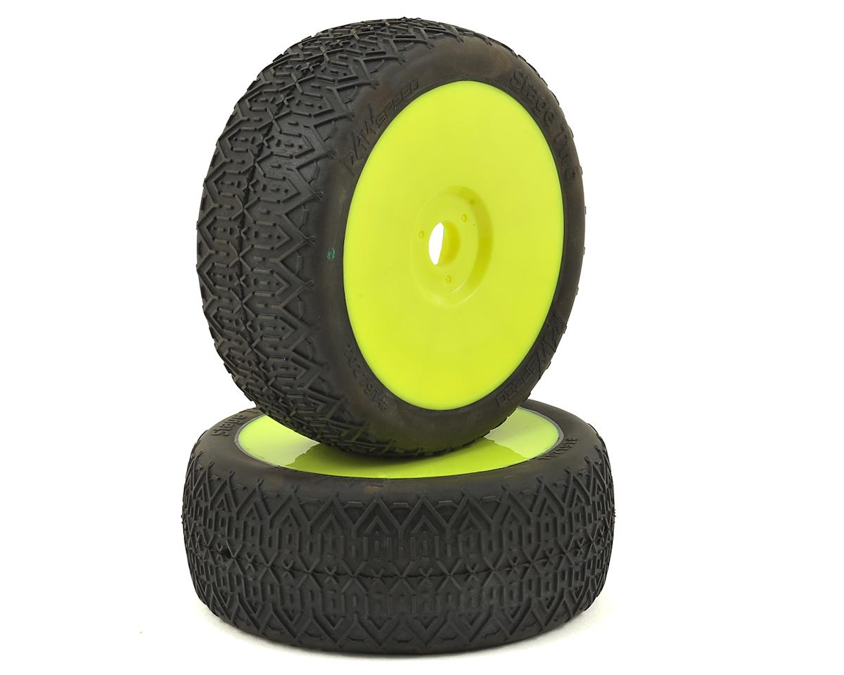 """Stage Two"" 1/8 Buggy Pre-Mounted Tires (2) (Yellow) by Raw Speed RC"