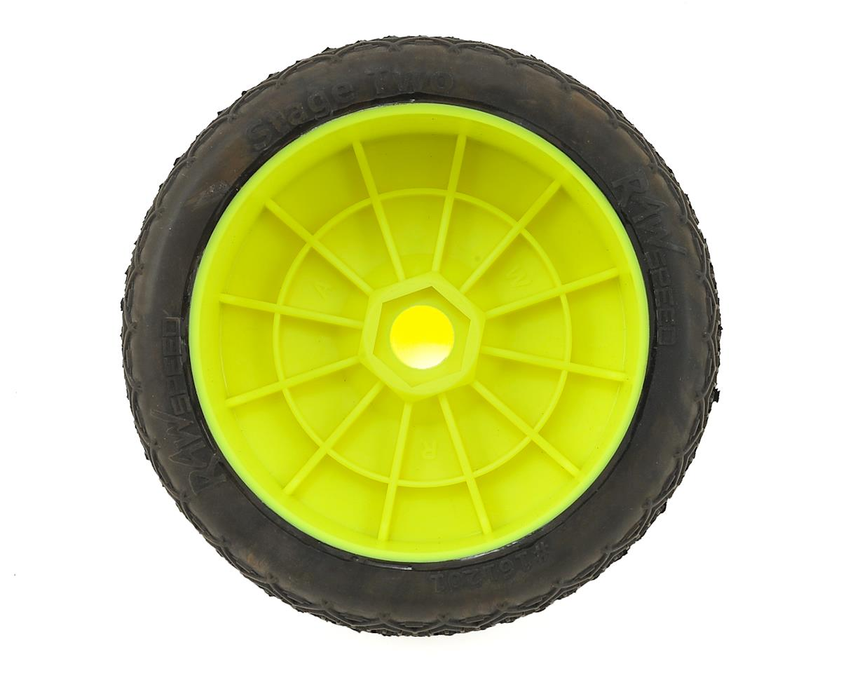 Raw Speed RC Stage Two 1/8 Buggy Pre-Mounted Tires (2) (Yellow) (Super Soft)
