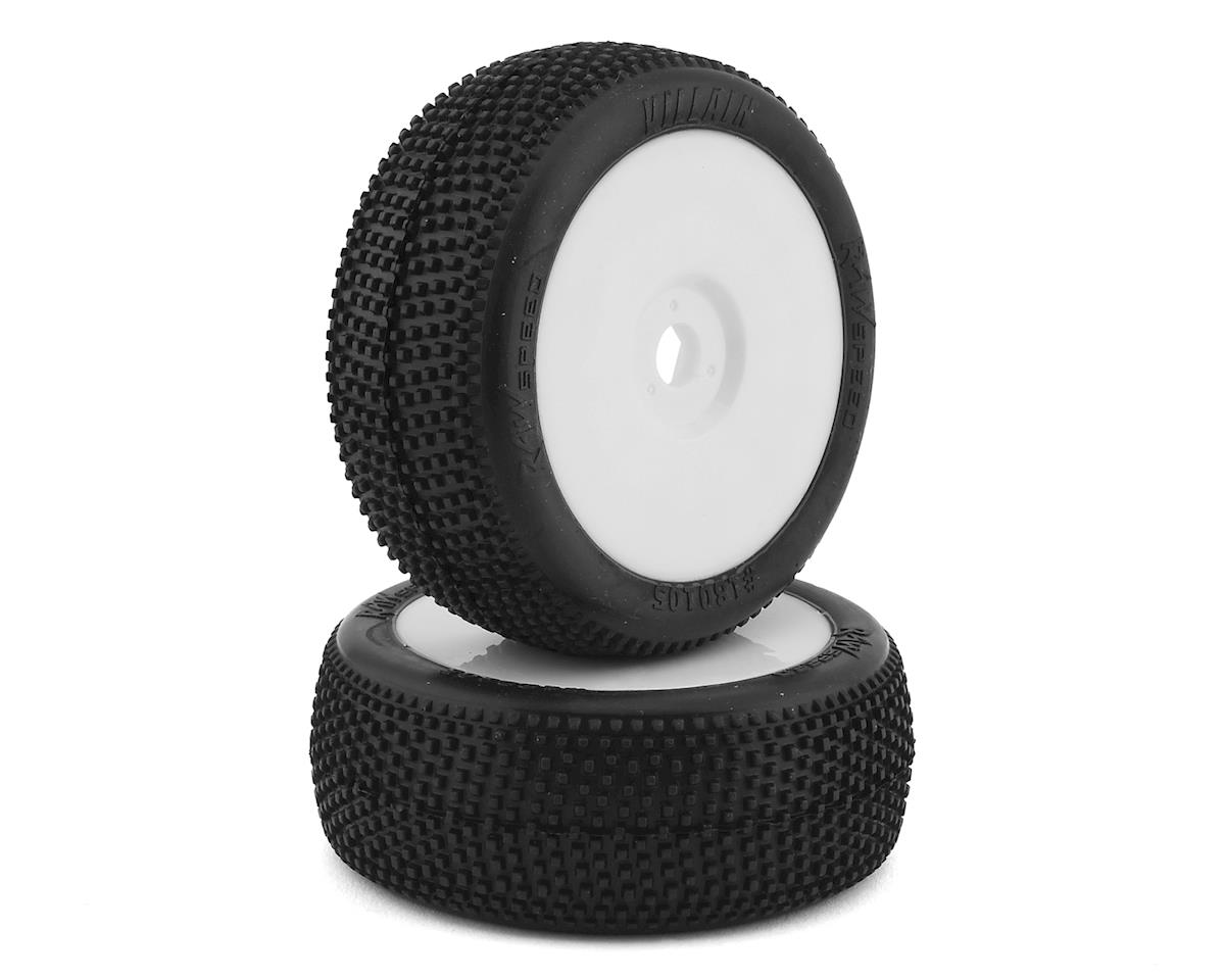 """Raw Speed RC """"Villain"""" 1/8 Pre-Mounted Buggy Tires (2) (White) (Soft)"""