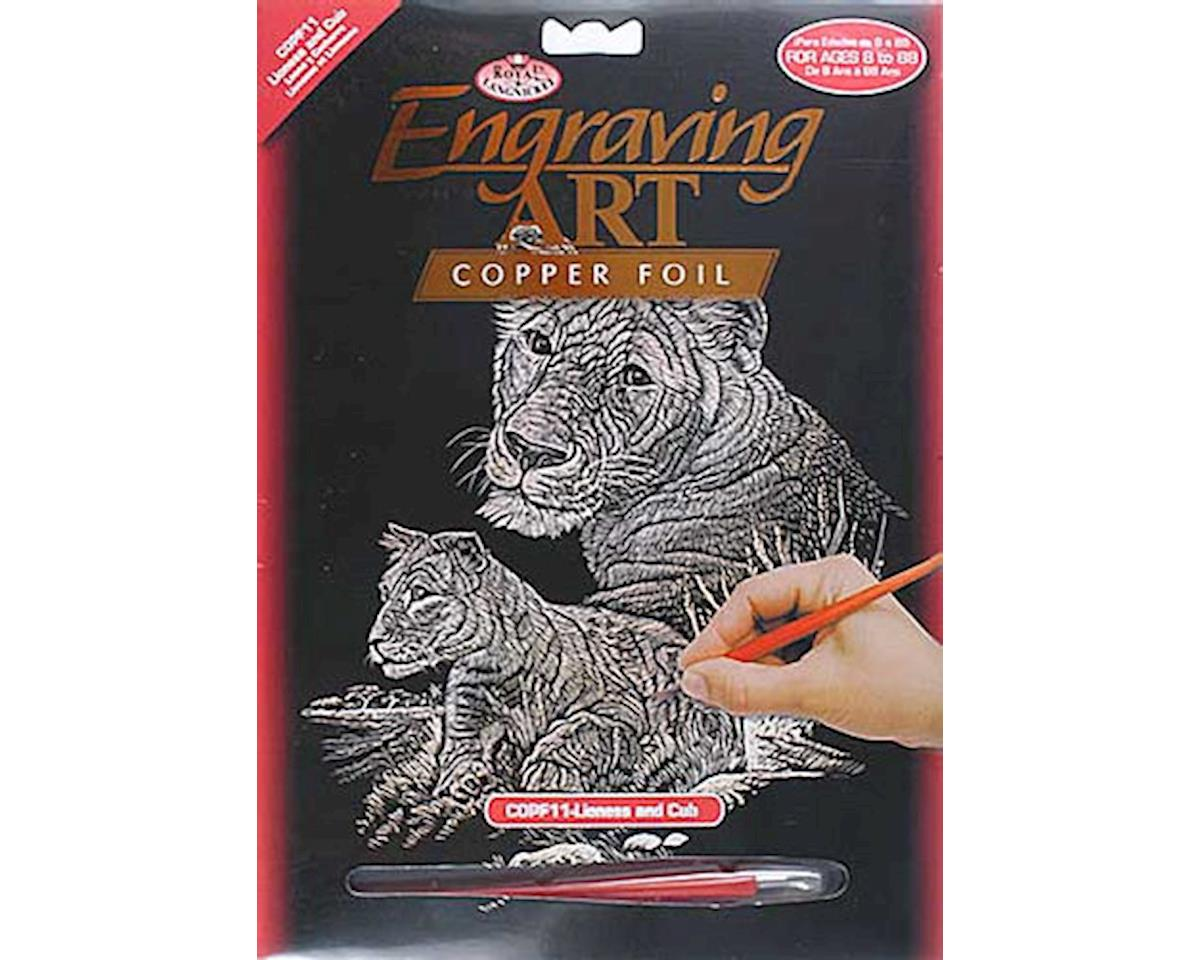COPF11 Copper Foil Lioness & Cub by Royal Brush Manufacturing