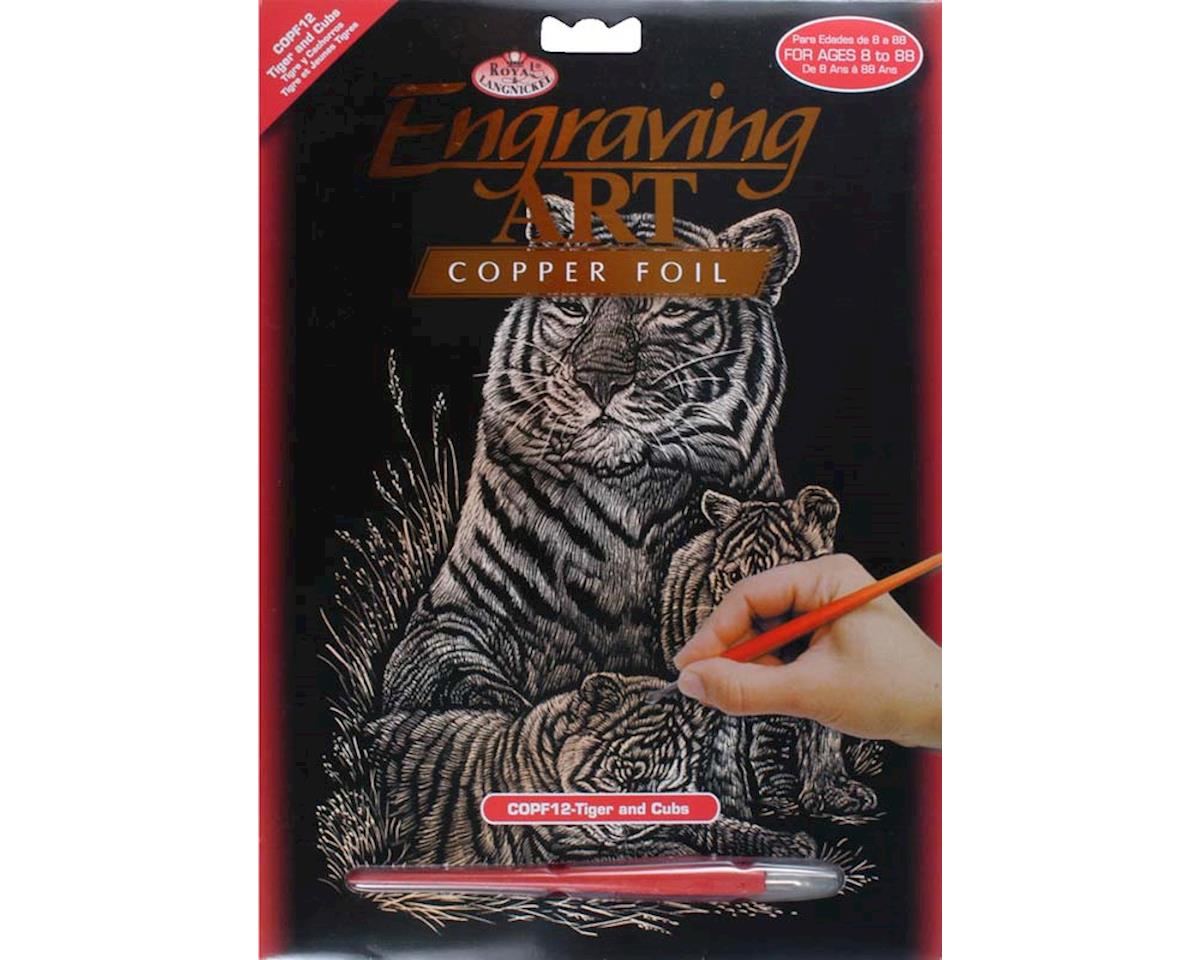 Royal Brush Manufacturing Brush  Copper Foil Engraving Art Tiger & Cubs