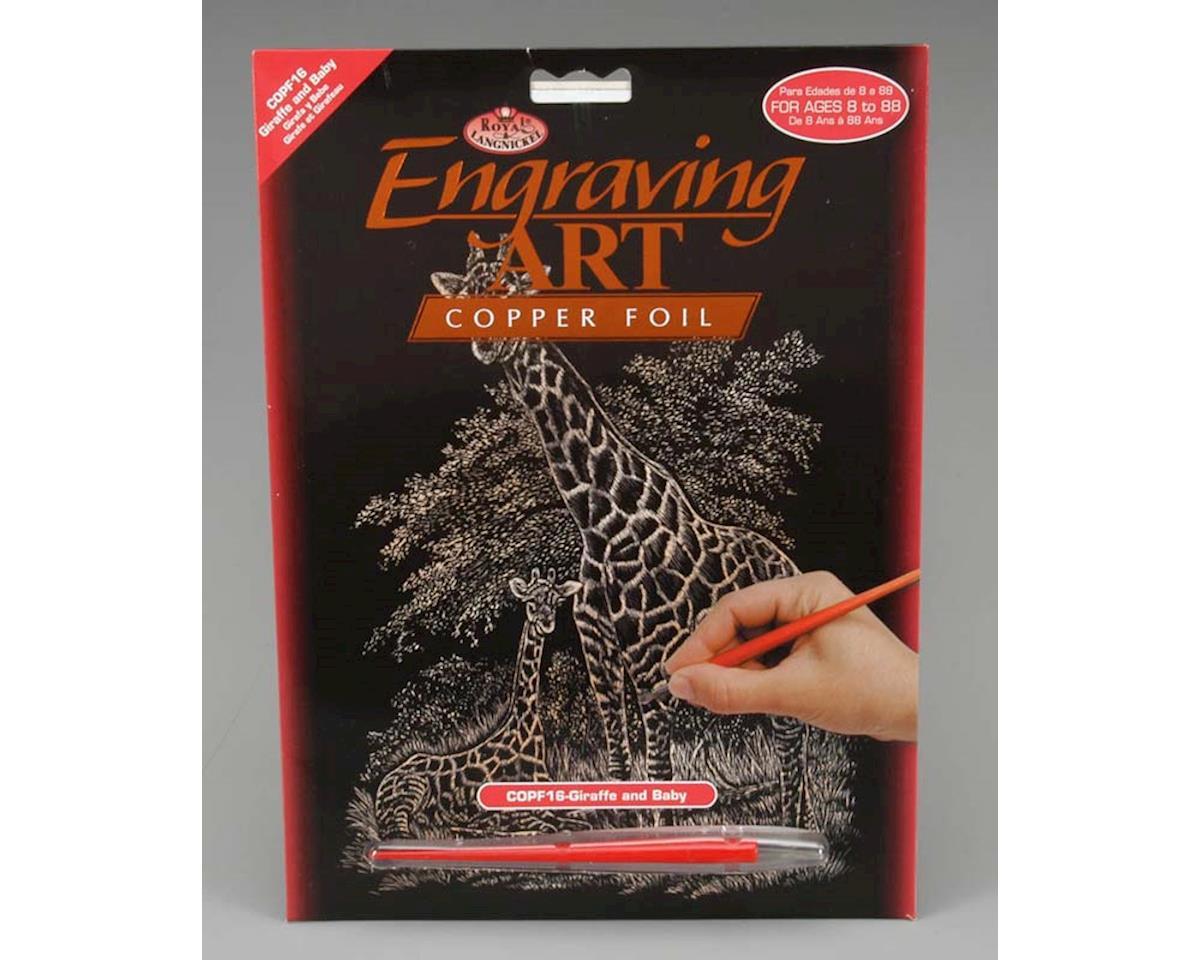 Royal Brush Manufacturing Royal Brush  Copper Foil Engraving Art Giraffe & Baby