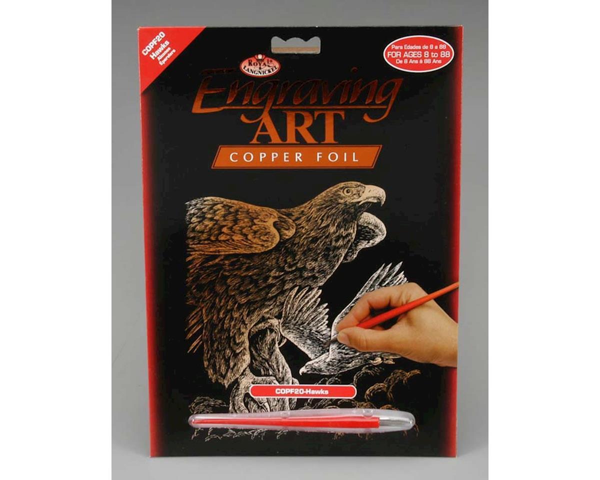 Royal Brush  Copper Foil Engraving Art Hawks