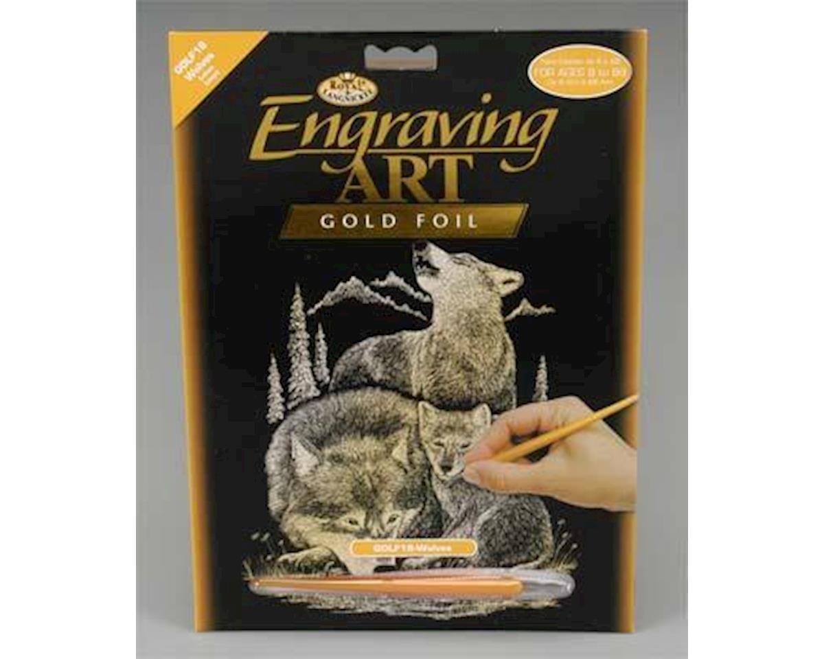 Royal Brush  Gold Foil Engraving Art Wolves by Royal Brush Manufacturing