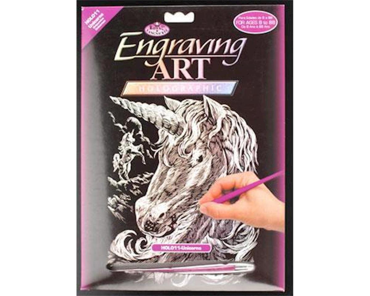 Royal Brush Manufacturing Brush  Holographic Foil Engraving Unicorns