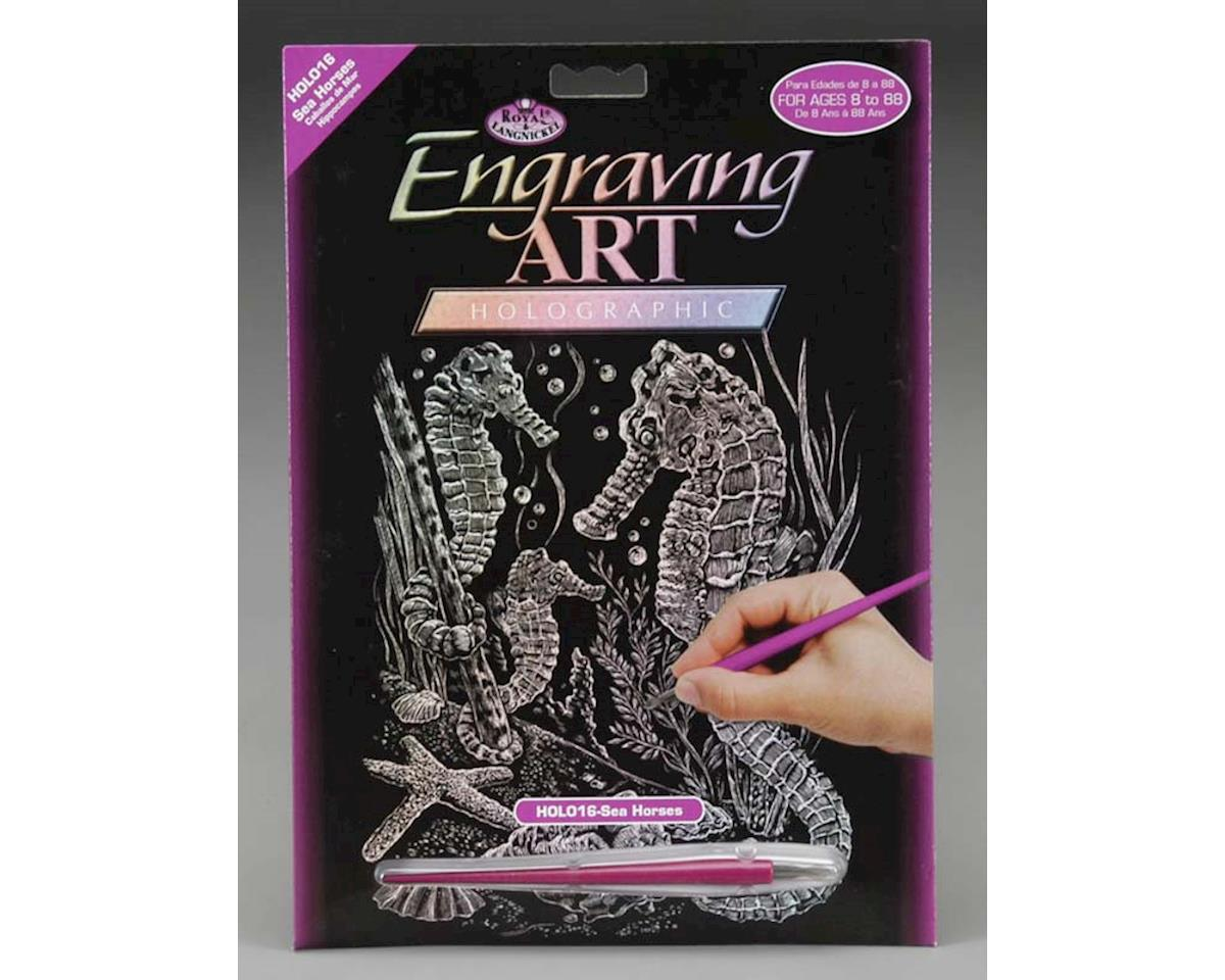 Royal Brush Manufacturing HOLO16 Holographic Foil Engrv Seahorses