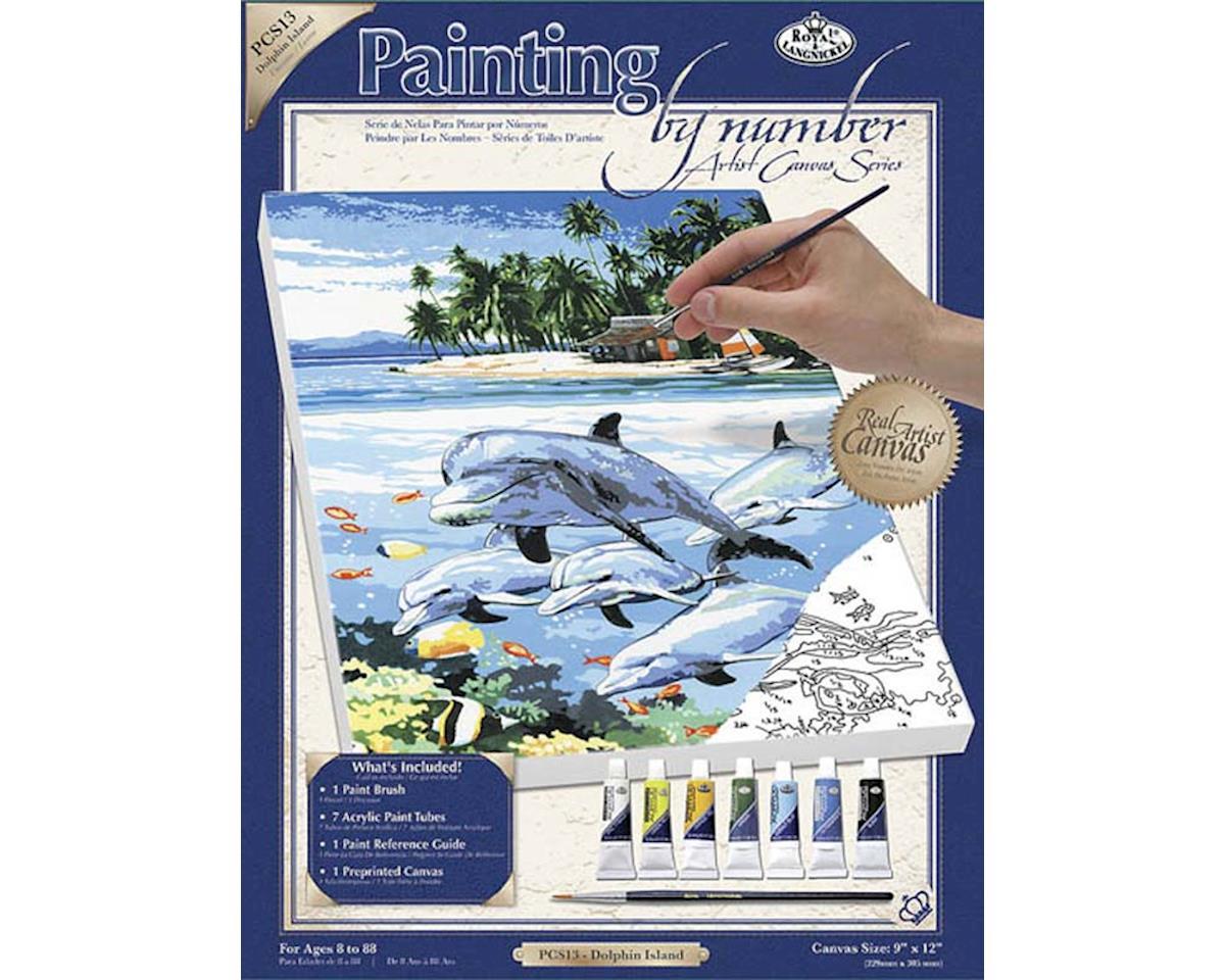 Royal Brush Manufacturing PCS13 PBN Canvas Dolphin Island 9x12