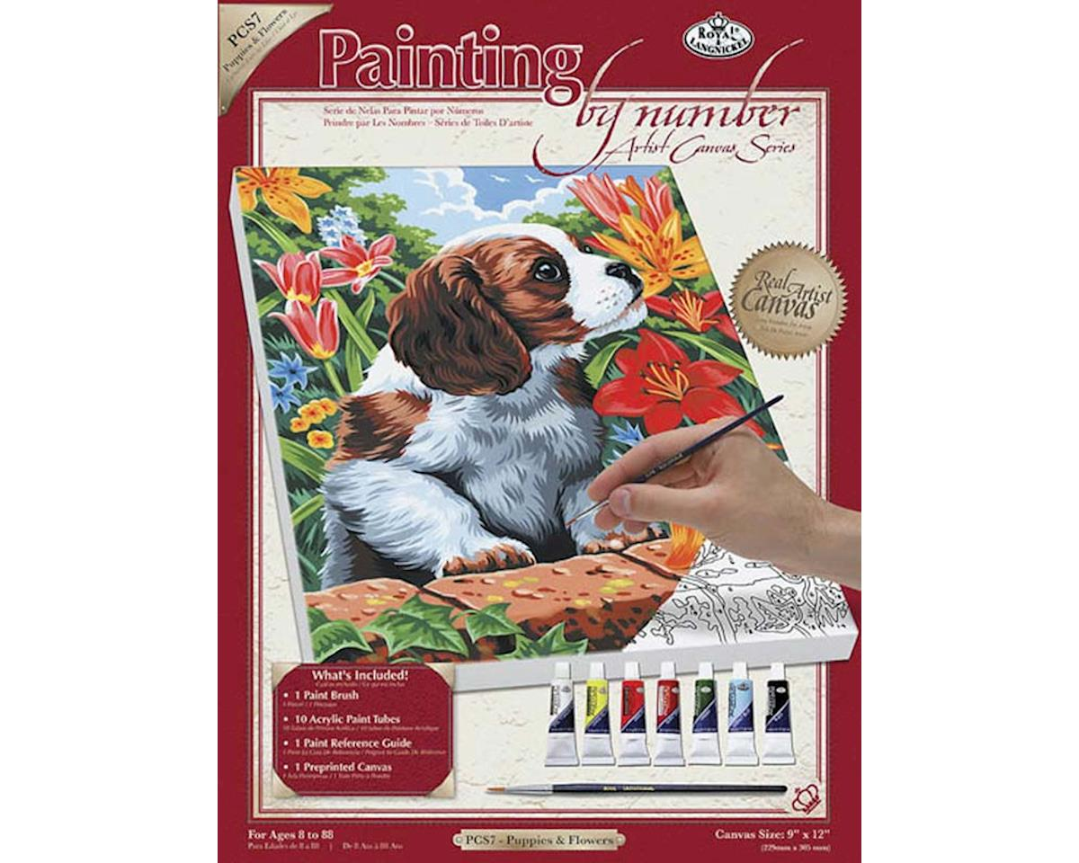 Royal Brush Manufacturing PCS7 PBN Canvas Puppy & Flowers 9x12