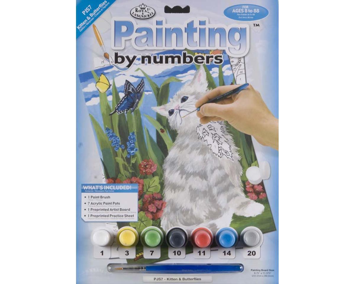 "Royal Brush Manufacturing PJS7 Jr PBN Kittens & Butterflies 8-3/4x11-3/4"""