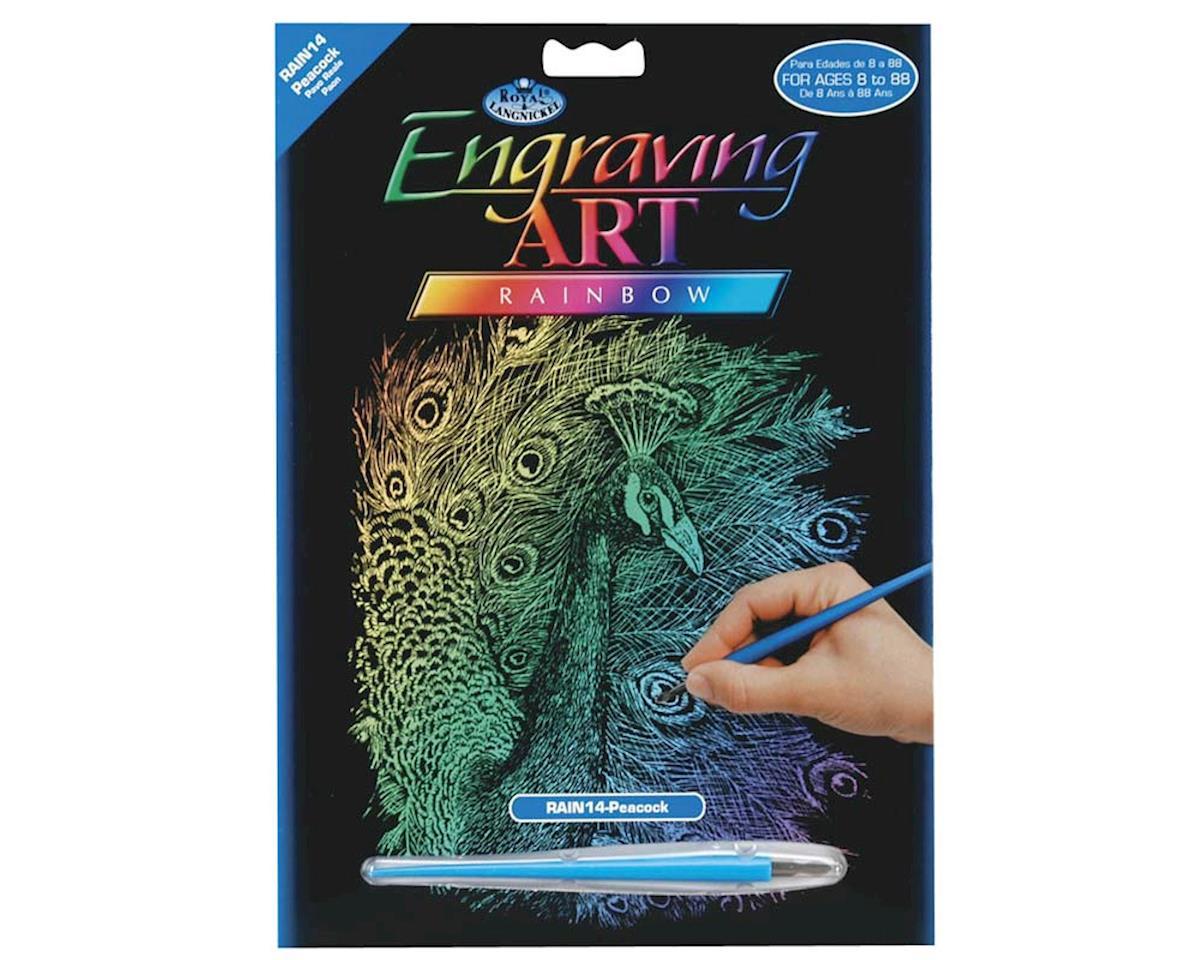 Royal Brush Manufacturing Royal Brush  Rainbow Engraving Art Peacock