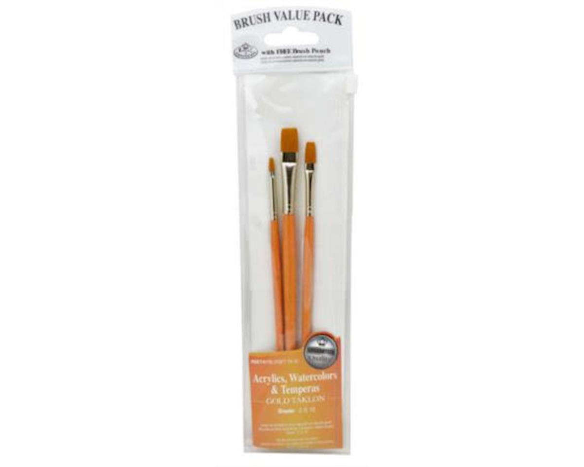 Royal Brush Manufacturing Value Brush Set-3pc Gold Taklon Shader Set