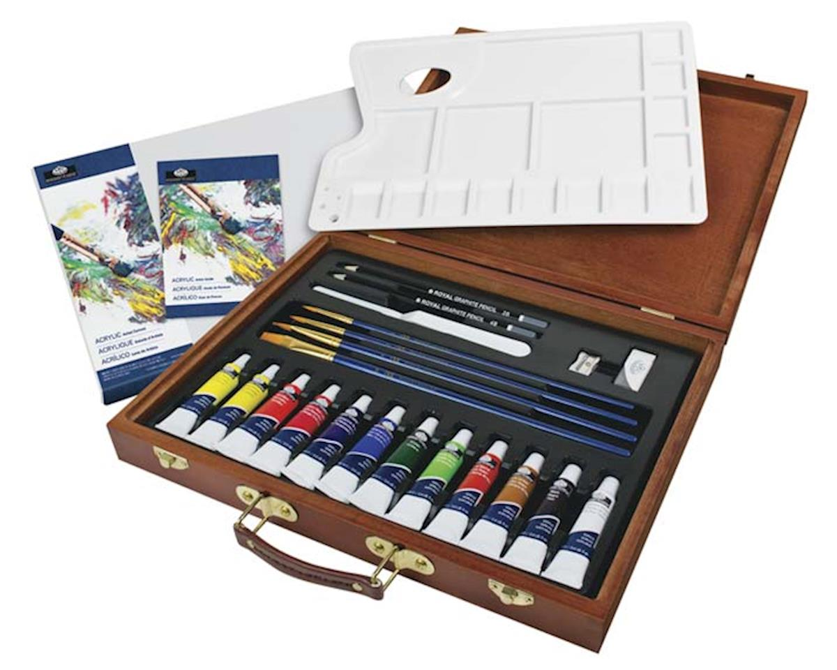 Royal Brush Manufacturing RSET-ACR2030 Acrylic Painting Wooden Box Art Set