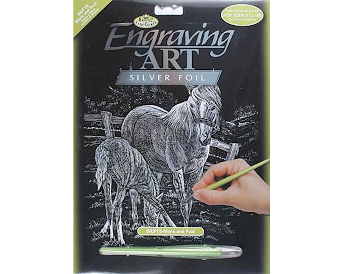 Brush  Silver Foil Engraving Art Mare & Foal by Royal Brush Manufacturing
