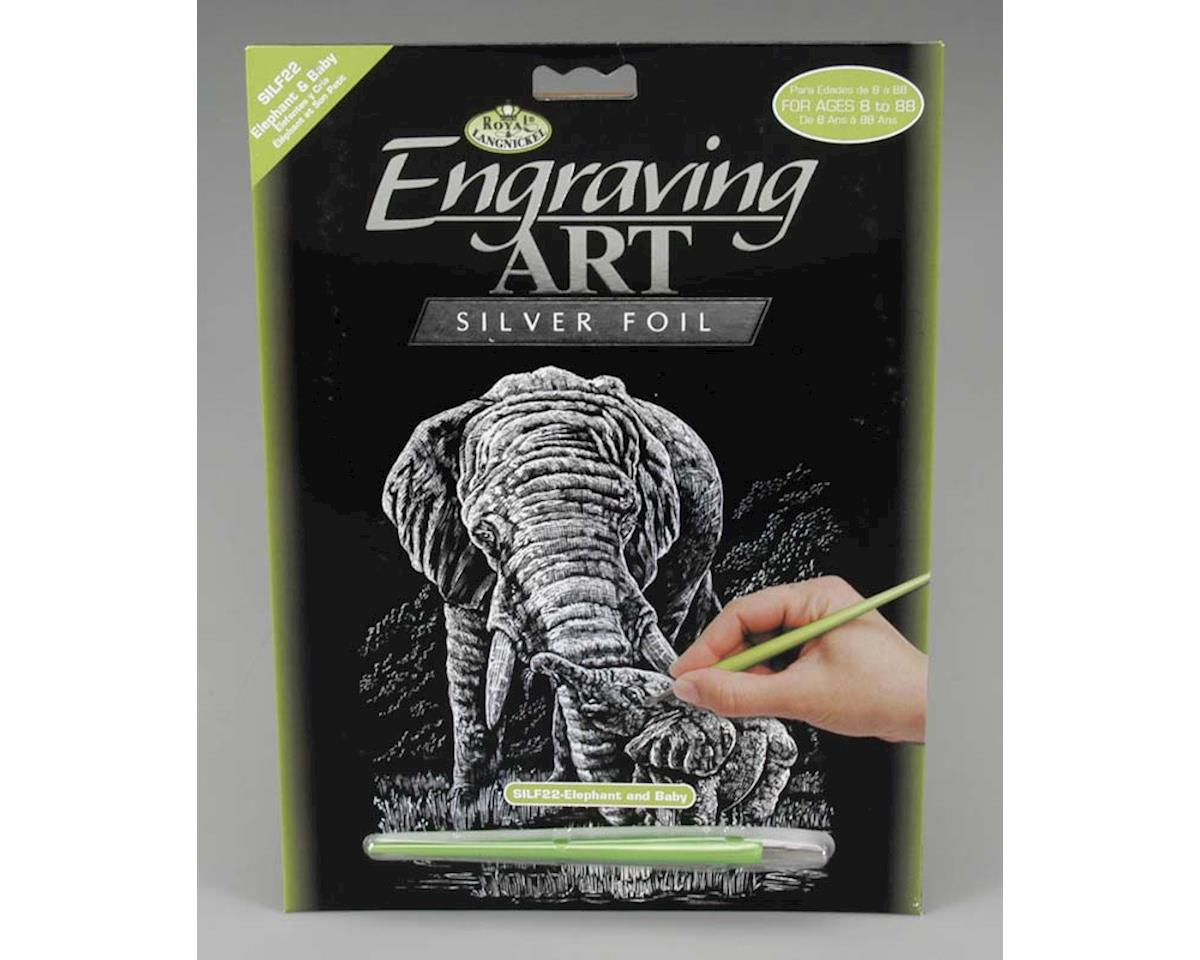 Royal Brush Manufacturing SILF22 Silver Foil Elephant & Baby