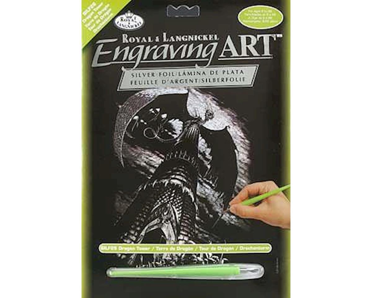 Royal Brush Manufacturing Royal Brush  Silver Engraving Art Dragon Tower