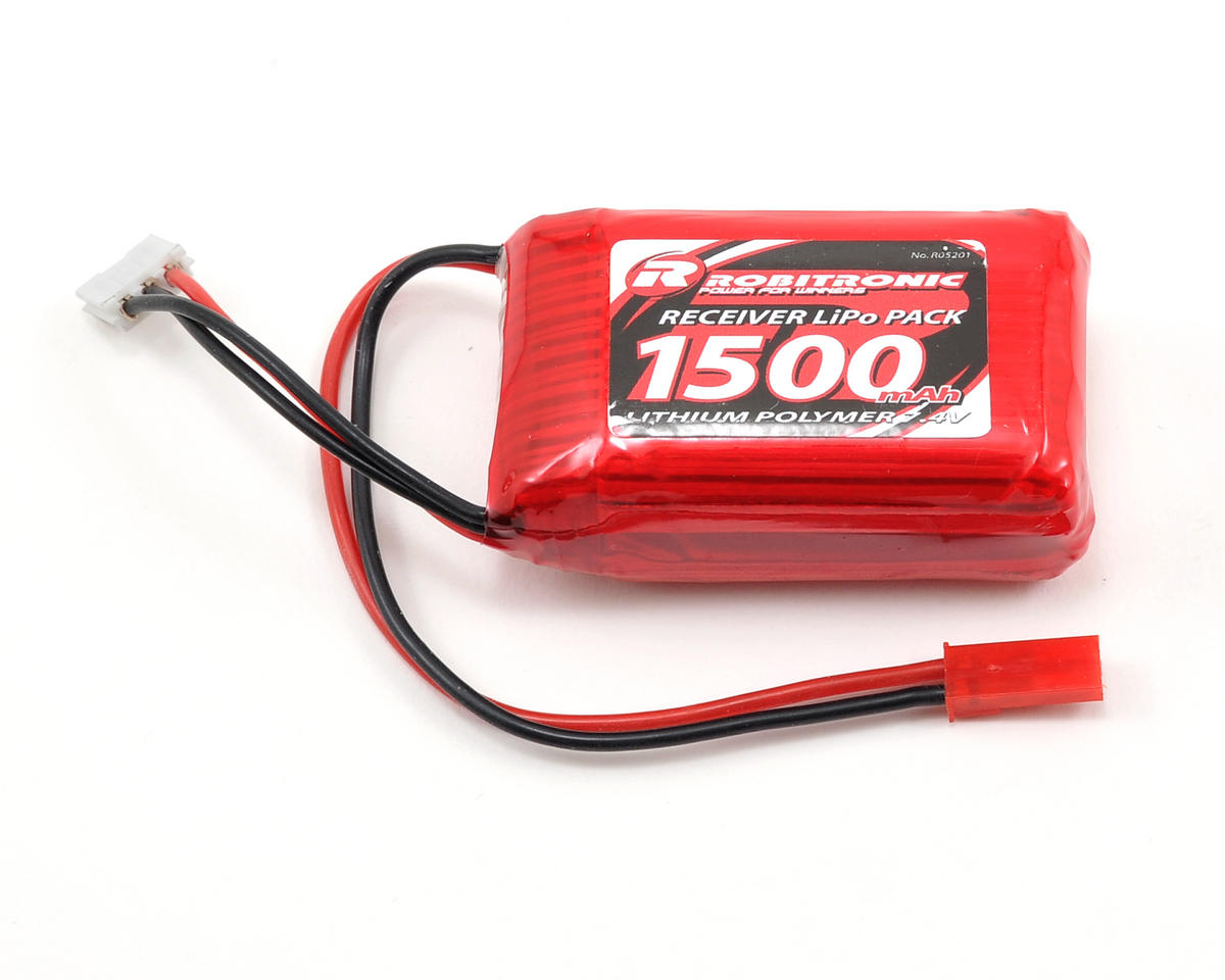 Robitronic 2S LiPo Receiver Battery w/JST Connector (7.4V/1500mAh)