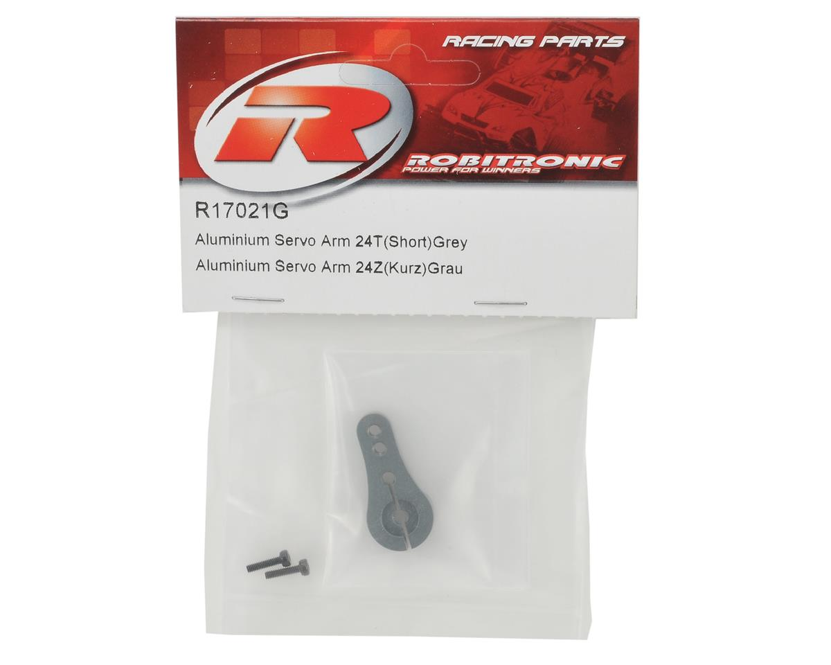 Robitronic Machined Aluminum Single Sided Servo Horn (Short) (Grey) (24T-Hitec)